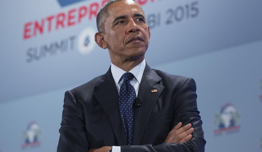 President Obama takes part in a panel discussion at the Global Entrepreneurship Summit at the United Nations Compound in Nairobi on July 25, 2015. (Associated Press) **FILE**