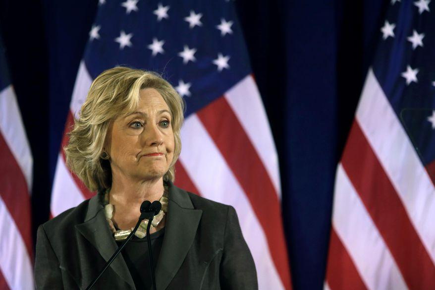 Democratic presidential hopeful Hillary Rodham Clinton speaks July 24, 2015, at the New York University Leonard N. Stern School of Business in New York. (Associated Press) **FILE**