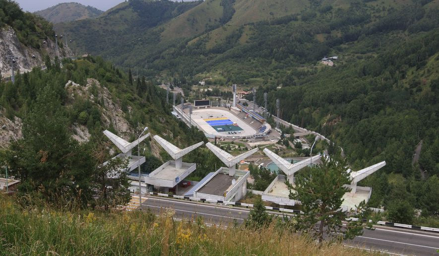 FOR STORY 2022 BID - This photo taken on Tuesday, July  21, 2015, shows a general view of the Medeu ice rink outside Almaty, Kazakhstan.  The ex-Soviet nation of Kazakhstan in Central Asia will be the first majority-Muslim country to host an Olympics if Almaty defeats its rival, Beijing, in voting July 31 to select the host venue of the 2022 winter games. (AP Photo/Pavel Mikheyev)