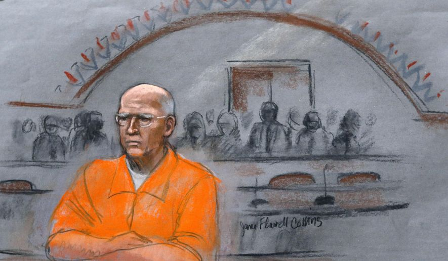 """In this courtroom sketch, James """"Whitey"""" Bulger sits at his sentencing hearing in federal court in Boston, Wednesday, Nov. 13, 2013. (Jane Flavell Collins via AP, File)"""
