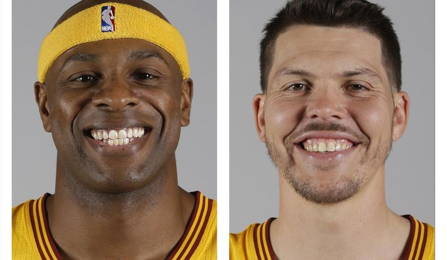 FILE - These are 2014, file photos showing Cleveland Cavaliers NBA basketball players Brendan Haywood, left, and Mike Miller, right. A person familiar with the trade says the Cavaliers have traded forward Mike Miller and center Brendan Haywood to Portland to create salary-cap room and save luxury-tax money. The Cavs have been shopping Haywood's expiring $10.5 million contract deal for weeks and worked out a deal with the Blazers, who will also get two second-round picks from Cleveland, said the person who spoke Monday, July 27, 2015,  to the Associated Press on condition of anonymity because the deal is pending league approval. (AP Photo/File)