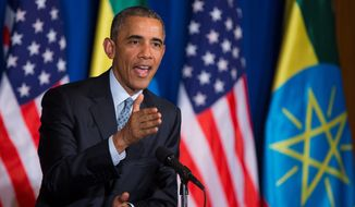 President Obama, the first sitting U.S. president to visit Ethiopia, said during a news conference with Prime Minister Hailemariam Desalegn Monday that Republican presidential candidates are attempting to distort the facts of his Iran nuclear deal. (Associated Press)