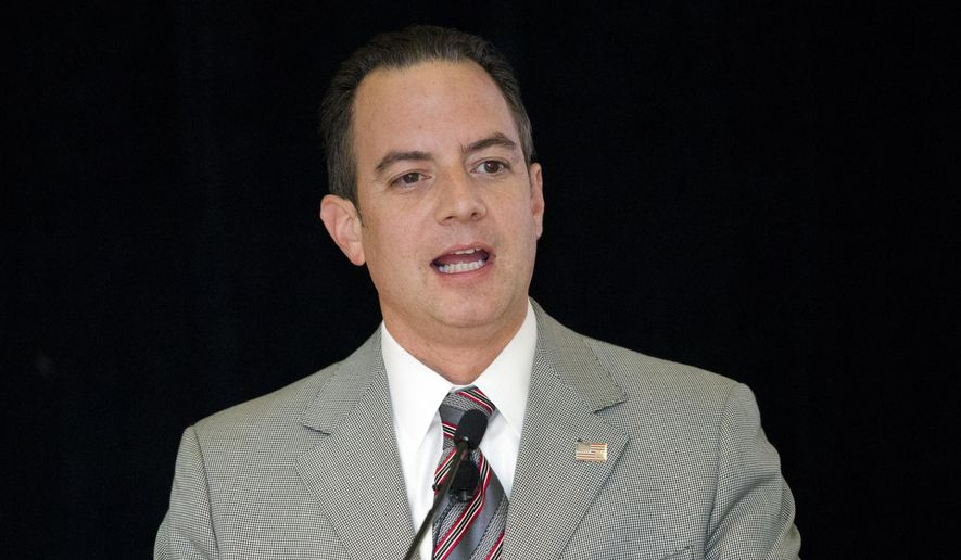 "In this photo taken June 19, 2015, Republican National Committee Chairman Reince Priebus speaks in Philadelphia. Priebus said Monday that he's not worried about Donald Trump eventually running for president as an independent.""I don't see that happening,"" Priebus said in a nationally broadcast interview. He added that it is universally felt in party circles that ""if Hillary Clinton is going to get beat, she has to get beat by a Republican."" (AP Photo/Matt Rourke)"