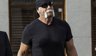 In this Oct. 15, 2012 file photo, former professional wrestler Hulk Hogan, whose real name is Terry Bollea, arrives for a news conference at the United States Courthouse in Tampa, Fla. Hogan is taking to Twitter in the aftermath of his thanked fans for his support through a series of tweets this weekend after being released from Wrestling Entertainment Inc.  (AP Photo/Chris O'Meara, File)