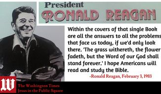 "Ronald Reagan, image created by W. Scott Lamb, using the cover of his 1954/1984 LP of ""Old Testament Stories"""