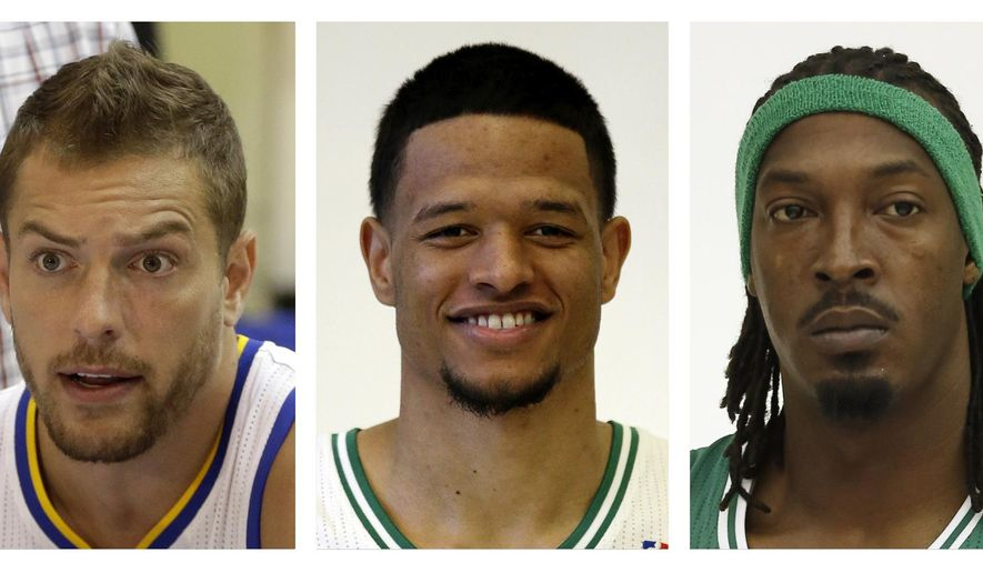 FILE - From left are Golden State Warriors' David Lee, in a 2014, file photo, Boston Celtics' Chris Babb, in a 2013, file photo, and Celtics' Gerald Wallace, in a 2014, file photo. The Golden State Warriors have completed the trade sending two-time All-Star forward David Lee to the Boston Celtics for Gerald Wallace and Chris Babb. The teams announced the deal Monday, July 27, 2015. They agreed to the trade July 7, but Boston needed time to sort out other moves in free agency before acquiring Lee. (AP Photo/File)