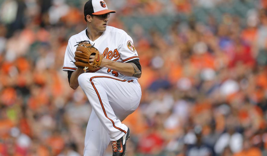 Baltimore Orioles pitcher Kevin Gausman throws to the Atlanta Braves in the first inning of an interleague baseball game, Monday, July 27, 2015, in Baltimore. (AP Photo/Patrick Semansky)