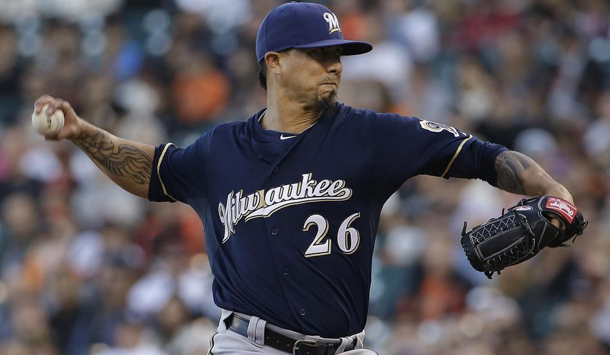 Milwaukee Brewers pitcher Kyle Lohse throws against the San Francisco Giants during the first inning of a baseball game in San Francisco, Monday, July 27, 2015. (AP Photo/Jeff Chiu)