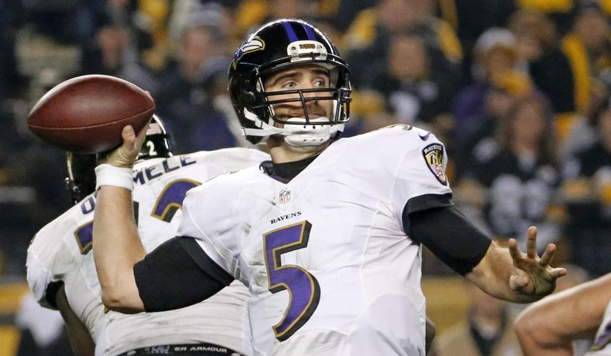 FILE - In this Jan. 3, 2015, file photo, Baltimore Ravens quarterback Joe Flacco (5) prepares to pass during the first half of an NFL wildcard playoff football game against the Pittsburgh Steelers in Pittsburgh. Flacco is coming off his finest season and the defensive backfield is healthy and stocked with talent. (AP Photo/Gene J. Puskar, File)