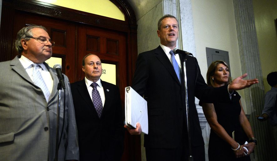 Massachusetts Gov. Charlie Baker, center, speaks next to Mass. Speaker of the House Robert DeLeo, left, Senate President Stanley Rosenberg, second from left, and Lt. Gov. Karyn Polito, right, during a news conference in Boston, Monday, July 27, 2015, regarding Boston no longer being a 2024 Summer Olympics contender. The U.S. Olympic Committee officially severed ties with Boston, saying it was exploring other options amid lackluster public support and concerns from elected leaders and organized opposition about the impact to taxpayers. (Ted Fitzgerald/The Boston Herald via AP)