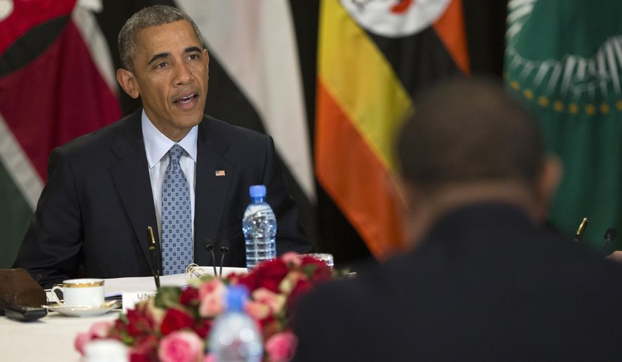 President Obama speaks during a multilateral meeting in Addis Ababa on South Sudan and cointerterrorism issues with Kenya, Sudan, Ethiopia, the African Union and Uganda. (Associated Press/File)
