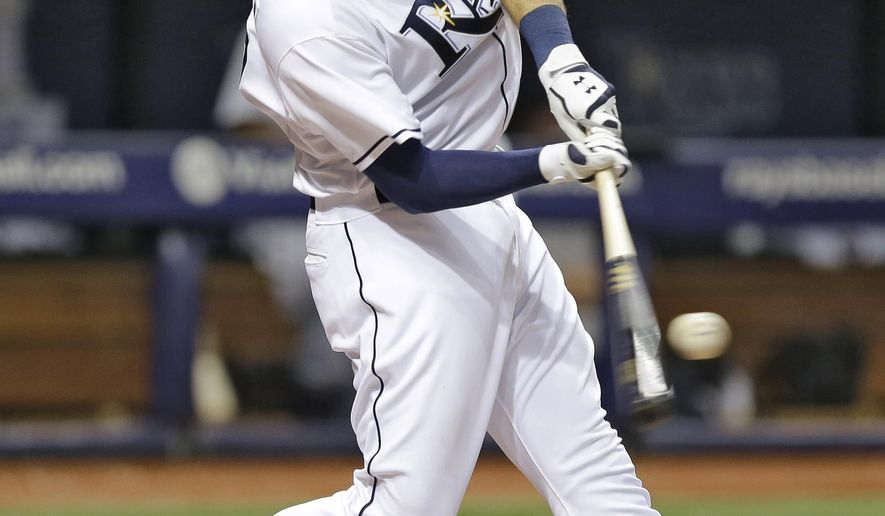 Tampa Bay Rays' Curt Casali connects for a two-run home run off Detroit Tigers starting pitcher David Price during the fourth inning of a baseball game Tuesday, July 28, 2015, in St. Petersburg, Fla.  Rays Asdrubal Cabrera also scored. (AP Photo/Chris O'Meara)