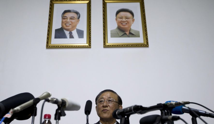 "North Korean Ambassador to China Ji Jae Ryong speaks at a press conference held at the North Korean Embassy in Beijing Tuesday, July 28, 2015. Ji says that his country has no interest in an Iran-style nuclear disarmament deal because North Korea is a ""nuclear weapons state."" (AP Photo/Andy Wong)"