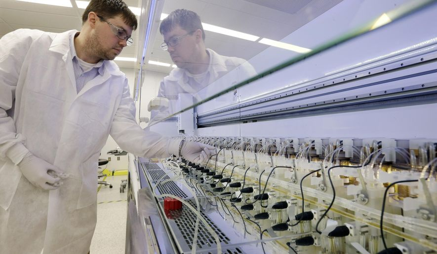 In this Thursday, Dec. 18, 2014 photo, scientist Christopher Kistler checks on experiments in AMBR250 bio-reactors in a laboratory at the Merck company facilities in Kenilworth, N.J. The bio-reactors allow a large number of experiments to be done in the lab at the same time. Merck reports quarterly financial results on Tuesday, July 28, 2015.  (AP Photo/Mel Evans)