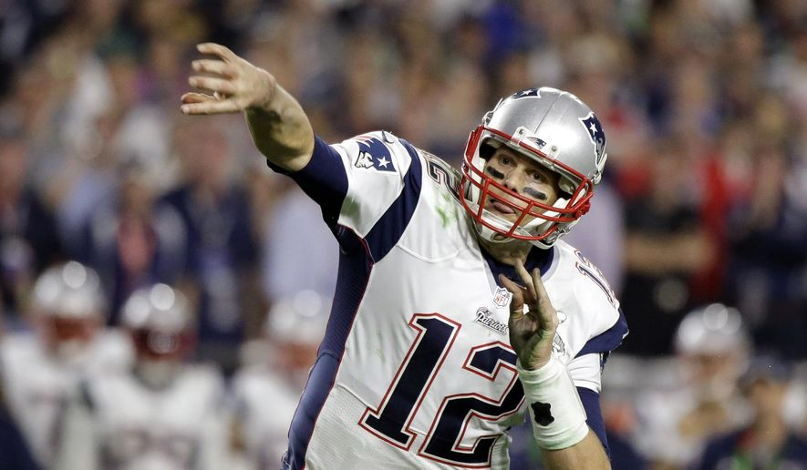 FILE -  In this Feb. 1, 2015, file photo, New England Patriots quarterback Tom Brady (12) passes the ball against the Seattle Seahawks during the second half of NFL Super Bowl XLIX football game in Glendale, Ariz. (AP Photo/David Goldman, file)