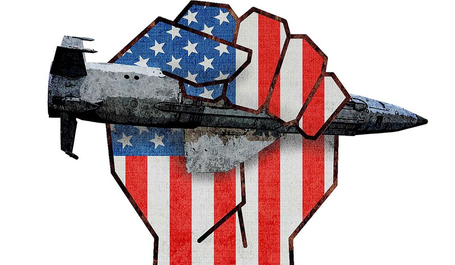 Peace Through Strength Bunker Bomb Illustration by Greg Groesch/The Washington Times
