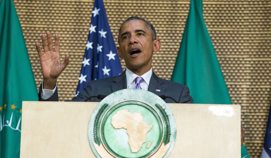 President Obama delivers a speech to the African Union in Addis Ababa, Ethiopia. On the final day of his African trip, Obama was focusing on economic opportunities and African security. (AP Photo)