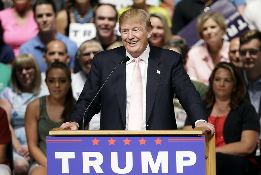 Republican presidential candidate Donald Trump speaks at a rally and picnic in Oskaloosa, Iowa, in this July 25, 2015, file photo. (AP Photo/Charlie Neibergall, File)