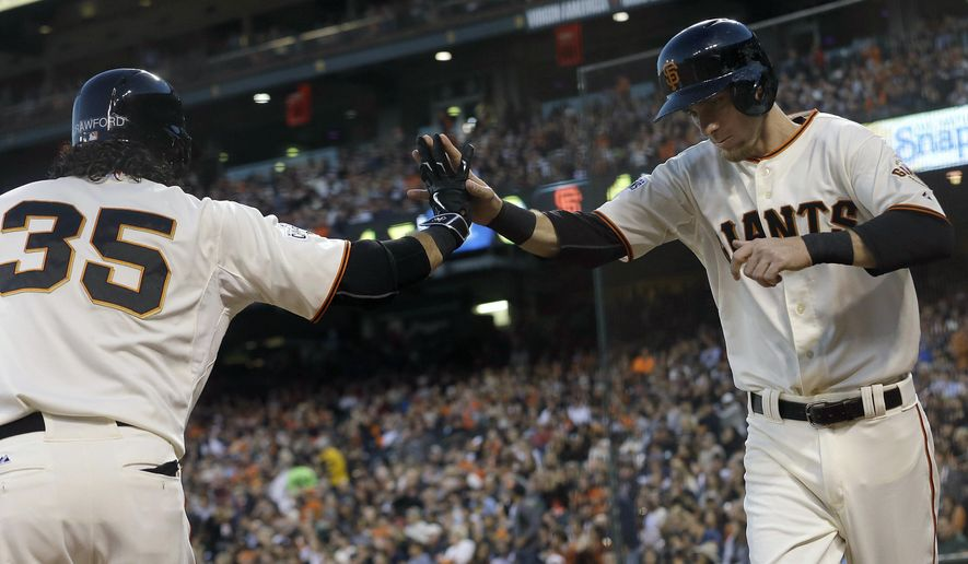 San Francisco Giants' Matt Duffy, right, is congratulated by Brandon Crawford after scoring against the Milwaukee Brewers during the fourth inning of a baseball game in San Francisco, Monday, July 27, 2015. (AP Photo/Jeff Chiu)