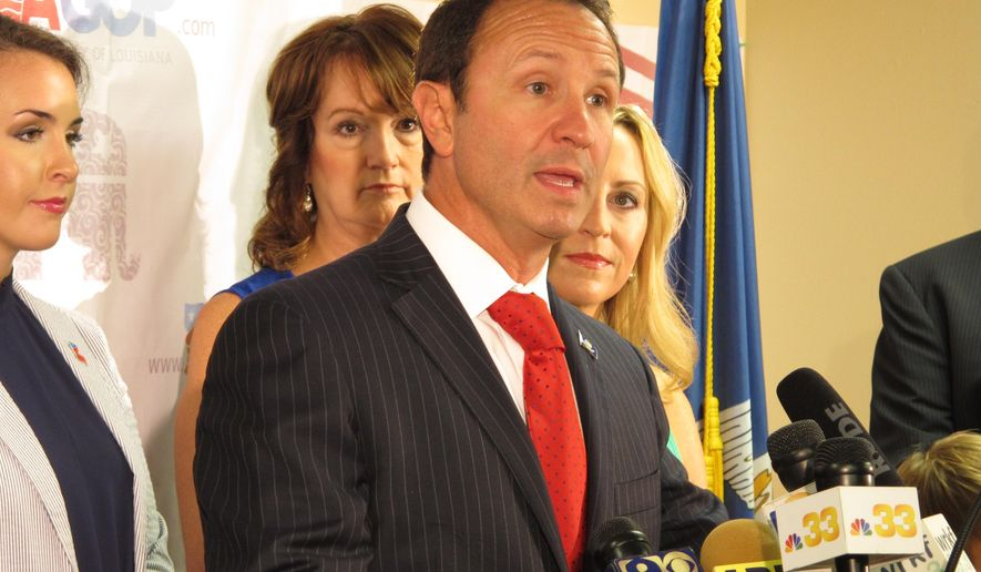 Republican candidate for attorney general, Jeff Landry, speaks about the state GOP's endorsement of his campaign on Tuesday, July 28, 2015, in Baton Rouge, La. The Republican Party of Louisiana backed Landry in the Oct. 24 election over incumbent GOP Attorney General Buddy Caldwell. (AP Photo/Melinda Deslatte)