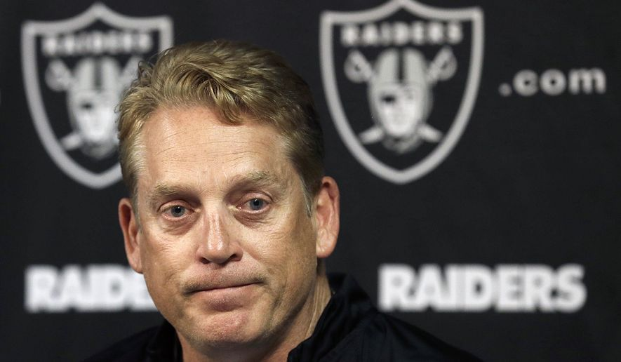 FILE - In this Friday, May 8, 2015,  photo, Oakland Raiders head coach Jack Del Rio speaks to reporters during a rookie minicamp at an NFL football facility in Alameda, Calif. The arrival of Del Rio's new staff, upgrades made through free agency and a foundation led by last year's top two draft picks, quarterback Derek Carr and linebacker Khalil Mack, have given the Raiders more reasons for optimism that usual heading into training camp, (AP Photo/Jeff Chiu, File)