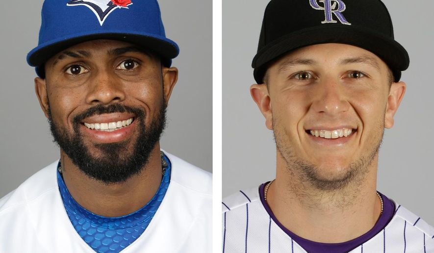 FILE - These are 2015, file photos showing Toronto Blue Jays' Jose Reyes, left, and Colorado Rockies' Troy Tulowitzki, right. Tulowitzki was sent to the Toronto Blue Jays for Jose Reyes and three pitching prospects late Monday night, July 27, 2015, in a stunning swap of star shortstops, according to a person with knowledge of the situation. The person spoke to The Associated Press on condition of anonymity early Tuesday because the deal had not yet been announced. (AP Photo/File)