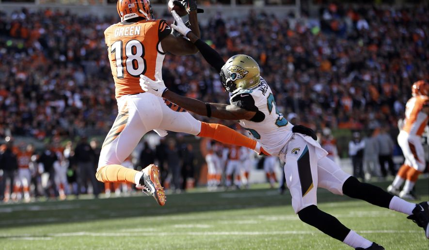 FILE - In this Nov. 2, 2014, file photo, Cincinnati Bengals wide receiver A.J. Green (18) goes up for a catch over Jacksonville Jaguars cornerback Demetrius McCray during the first half of an NFL football game in Cincinnati.  (AP Photo/AJ Mast, File)