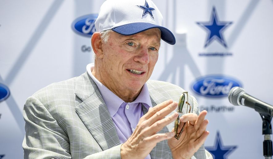 "Dallas Cowboys owner Jerry Jones answers a question during the ""state of the team"" news conference at the start of NFL football training camp, Wednesday, July 29, 2015, in Oxnard, Calif. (AP Photo/Gus Ruelas)"