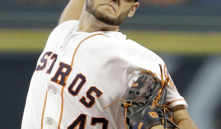 Houston Astros' Lance McCullers delivers a pitch against the Los Angeles Angels in the first inning of a baseball game Wednesday, July 29, 2015, in Houston. (AP Photo/Pat Sullivan)