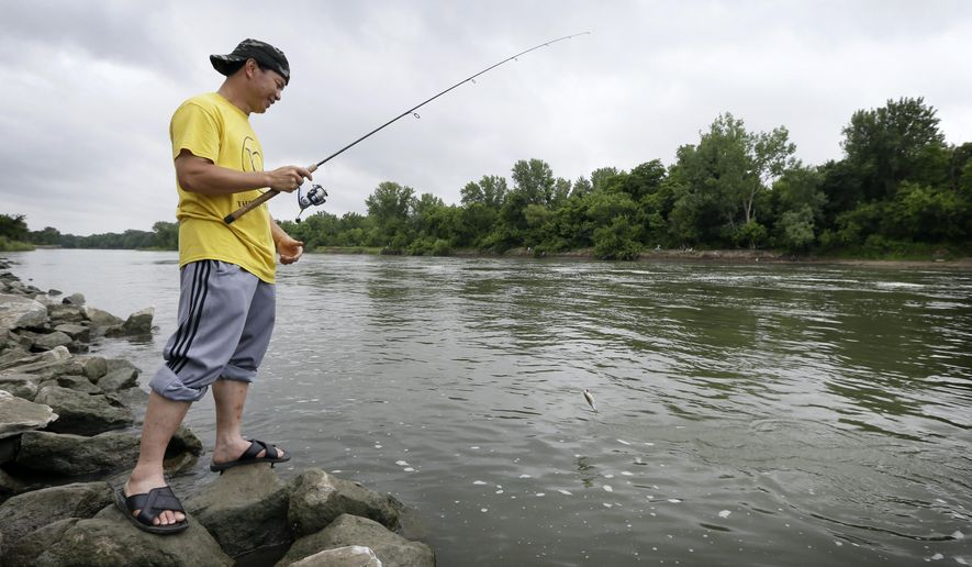 In this photo taken, Monday, June 22, 2015, Boun Lovan, of Des Moines, Iowa, catches a fish below the dam at Saylorville Lake near Des Moines, Iowa. Unlike advisories for other health hazards that are posted on packages and billboards or even quickly read on broadcast ads, the mercury dangers in fish are not communicated directly to anglers. They appear to be largely unknown to those affected the most, the low-income people or immigrants who frequently fish in streams and lakes near urban areas to supplement their diet. (AP Photo/Charlie Neibergall)