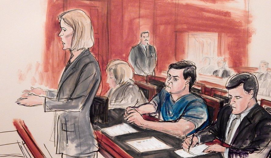 FILE - In this Feb. 11, 2015, file courtroom sketch, Assistant U.S. Attorney Anna Skotko, foreground left, addresses the court at the arraignment of Russian citizen Evgeny Buryakov, on charges that he participated in a Cold War-style Russian spy ring in New York. A federal judge refused on Wednesday, July 29 to throw out a spy case against the Russian banker, rejecting arguments that the U.S government was overreaching by prosecuting a defendant who was openly working as an agent of a foreign government. Seated behind Skotko from left are an unidentified Russian interpreter, defendant Evgeny Buryakov and defense attorney Benjamin Naftalis. (AP Photo/Elizabeth Williams, File)