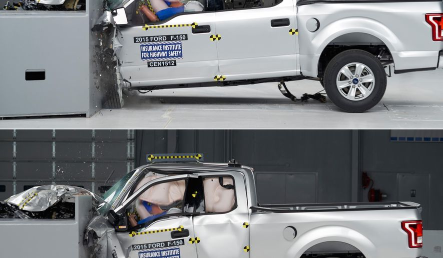 This combination made from 2015 photos provided by the Insurance Institute for Highway Safety (IIHS) shows crash tests of 2015 Ford F-150 Super Crew, top, and Super Cab pickup trucks. The four-door Super Crew got top ratings in all five of the crash tests. But the Super Cab version, which has a smaller rear door and back seat, did poorly in a small front overlap test, which slams 25 percent of the front of the truck into a barrier at 40 miles per hour. (Insurance Institute for Highway Safety via AP)