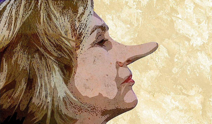 Hillary Must Be Lying Illustration by Greg Groesch/The Washington Times