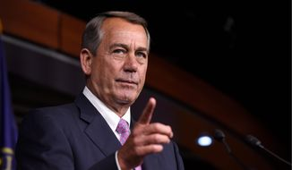 """""""Improving bridges, roads and our infrastructure is critical to our economy, but we're going to need time for the House committees to do their work,"""" Speaker John A. Boehner said before the chamber voted to keep road projects moving through Oct. 29 and to fill a $3.3 billion budget hole at the Department of Veterans Affairs. (Associated Press)"""