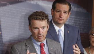 It remains to be seen whose approach will be most beneficial in the presidential race as Sens. Rand Paul (left) and Ted Cruz remain in a statistical dead heat at about 5 percent in the RealClearPolitics average of polls. They are hovering in the middle of the 16-candidate field. (Associated Press)