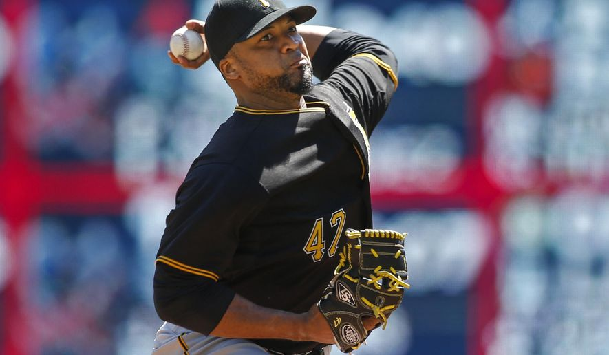 Pittsburgh Pirates starting pitcher Francisco Liriano pitches to the Minnesota Twins in the first inning of a baseball game Wednesday, July 29, 2015, in Minneapolis. (AP Photo/Bruce Kluckhohn)