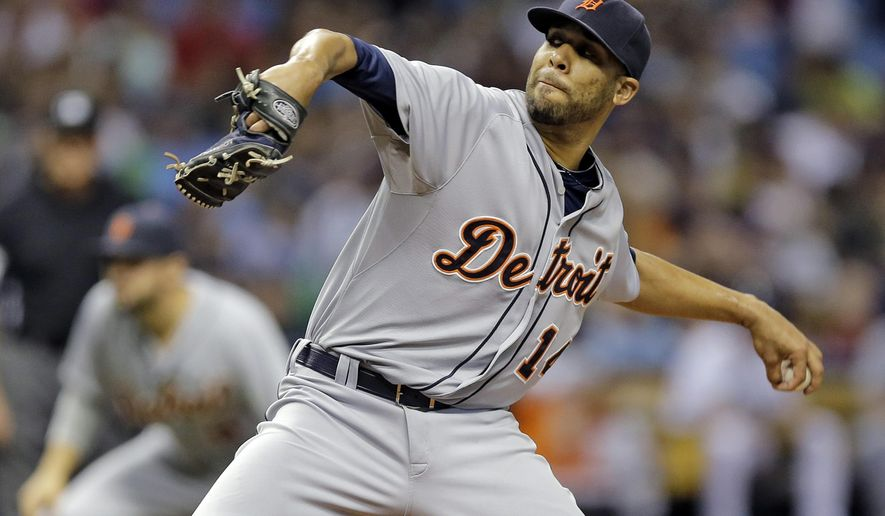 Detroit Tigers' David Price goes into his wind up against the Tampa Bay Rays during the second inning of a baseball game Tuesday, July 28, 2015, in St. Petersburg, Fla.  (AP Photo/Chris O'Meara)