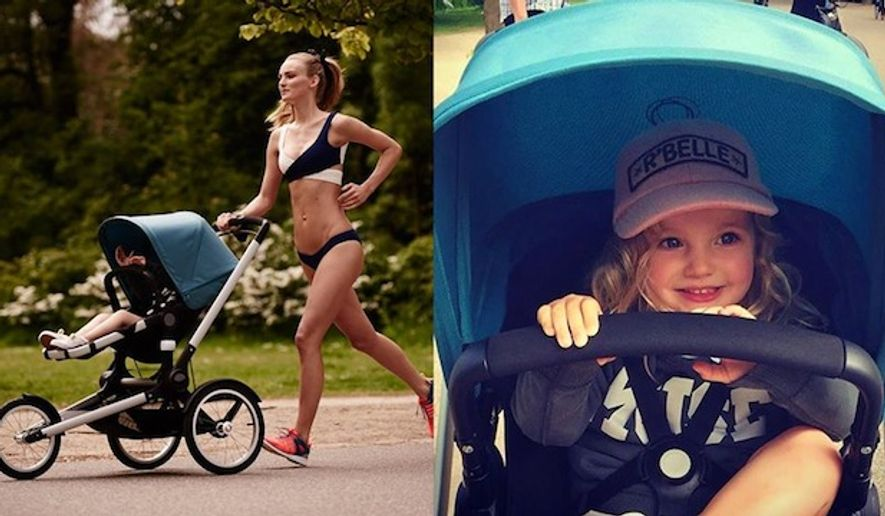"A photo posted online by the high-end stroller company Bugaboo which shows a bikini-clad supermodel pushing its new ""Runner"" jogging stroller has sparked furor by moms who call the ad unrealistic. (Facebook/Bugaboo)"