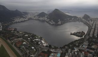 This July 27, 2015, aerial photo shows the Rodrigo de Freitas Lake in Rio de Janeiro, Brazil. An Associated Press analysis of water quality found dangerously high levels of viruses and bacteria from human sewage in Olympic and Paralympic venues. The Rodrigo de Freitas Lake, which was largely cleaned up in recent years, was thought be safe for rowers and canoers. Yet AP tests found its waters to be among the most polluted for Olympic sites. (AP Photo/Leo Correa)