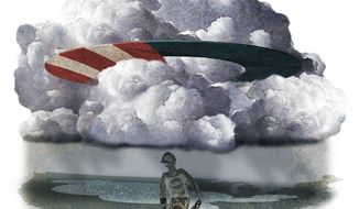 Illustration on the continuing national pall cast by the Obama economy by Alexander Hunter/The Washington Times
