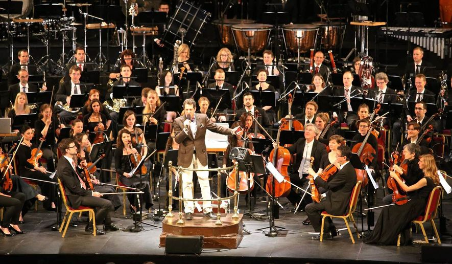 "Michael Giacchino's entire score for ""Star Trek"" will be performed Saturday by the National Symphony Orchestra, conducted by Emil de Cou, at the Wolf Trap Center for the Performing Arts in Vienna, Virginia, as the film itself is projected above the ensemble. (Maria Giacchino)"