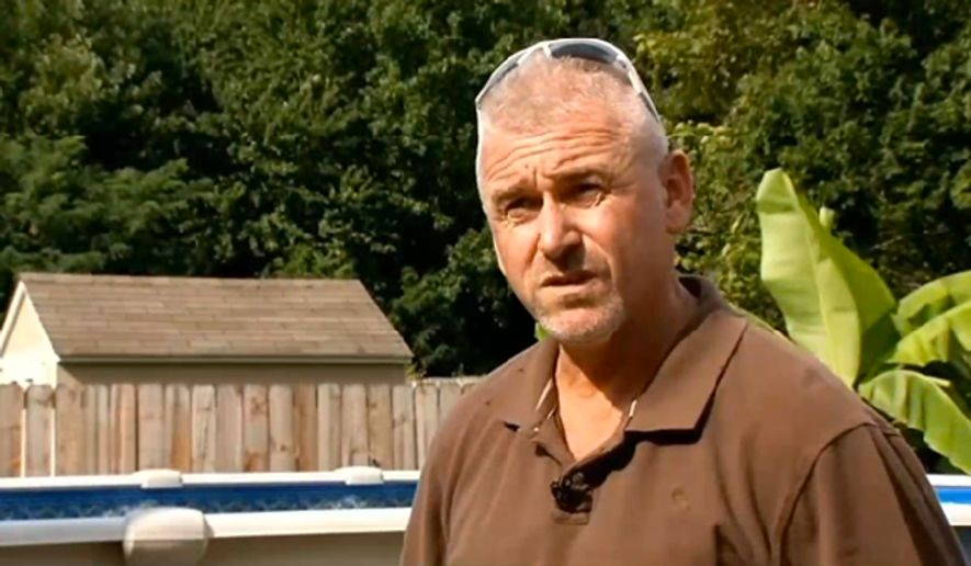 William H. Merideth, 47, was arrested July 26, 2015 in Bullitt County, Ky. after shooting down an $1800 drone hovering over his sunbathing daughter. (Image: WDRB 41, Louisville screenshot) ** FILE **