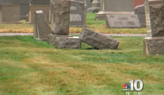 Philadelphia Police are investigating after vandals toppled 124 headstones at a historic Jewish cemetery. (NBC Philadelphia)