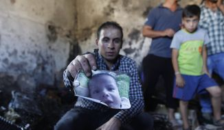 A relative holds up a photo of an 18-month-old boy, Ali Dawabsheh, in a house that had been torched in a suspected attack by Jewish settlers in Duma village near the West Bank city of Nablus, Friday, July 31, 2015. The boy died in the fire, his 4-year-old brother and parents were wounded, according to a Palestinian official from the Nablus area. (AP Photo/Majdi Mohammed)