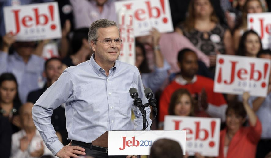 In this photo taken on June 15, 2015, former Florida Gov. Jeb Bush stands on the stage before  announcing his bid for the Republican presidential nomination, at Miami Dade College in Miami. (AP Photo/Lynne Sladky)