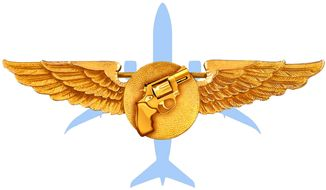 Illustration on arming airline pilots by Alexander Hunter/The Washington Times