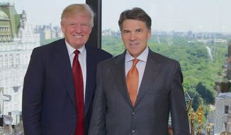 Could intense language between Donald Trump and Rick Perry subside? The pair are seen here when the Texas governor visited Mr. Trump in New York in 2013. (Office of Rick Perry)
