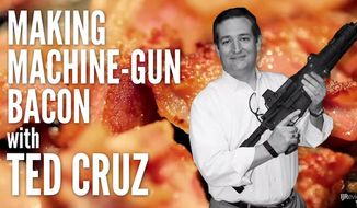 Republican presidential candidate Ted Cruz is seen cooking a strip of bacon with a machine gun in a new video released by IJ Review. (YouTube/IJReview)