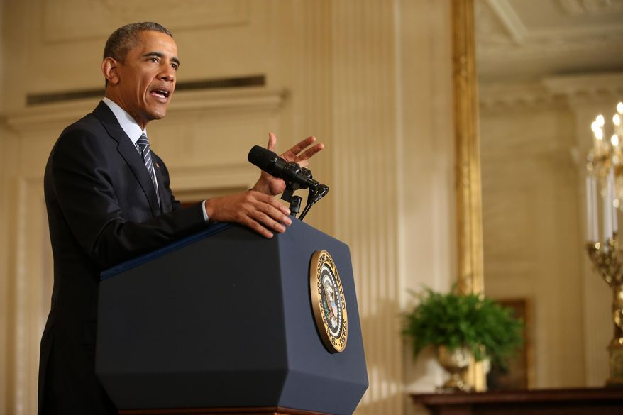 President Barack Obama speaks about his Clean Power Plan, Monday, Aug. 3, 2015, in the East Room at the White House in Washington. The president is mandating even steeper greenhouse gas cuts from U.S. power plants than previously expected, while granting states more time and broader options to comply. (AP Photo/Andrew Harnik)