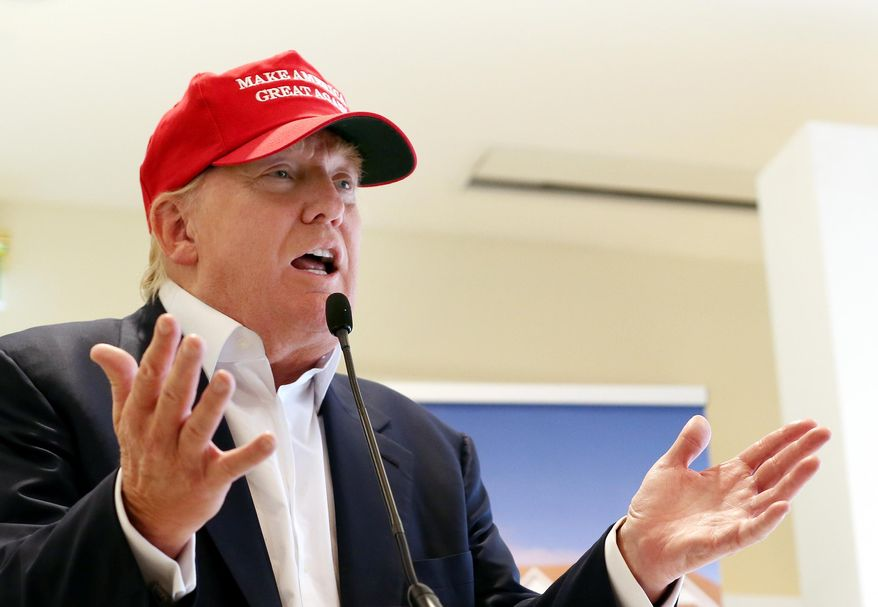 Republican presidential candidate Donald Trump speaks to the media during a news conference on the first day of the Women's British Open golf championship on the Turnberry golf course in Turnberry, Scotlan, in this July 30, 2015, file photo. (AP Photo/Scott Heppell, File)